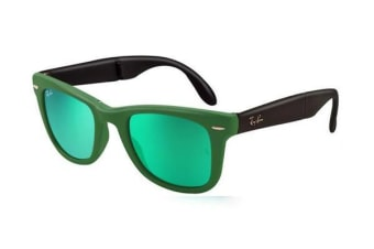 Ray-Ban RB4105 FOLDING WAYFARER - Matte Green Crystal (Green Mirror Green lens) / 50--22--140 Unisex Sunglasses