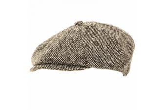 Mens Wool Blend 8 Panel Newsboy Cap (Grey)