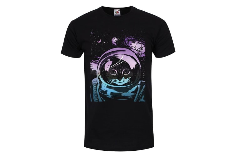Unorthodox Collective Mens Space Kitten T-Shirt (Black) (XX Large (44-46in))