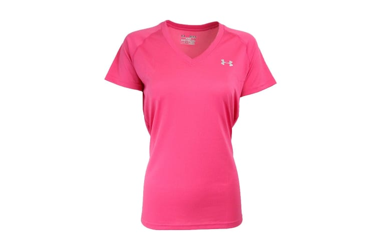 Under Armour Women's UA Tech V-Neck T-Shirt (Eraser Pink/Steel, Size XS)