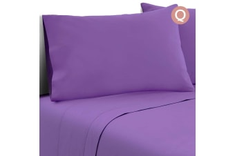 4 Piece Microfibre Sheet Set (Queen/(Purple)