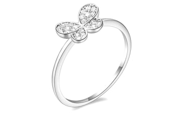 Butterfly Cz Ring-White Gold/Clear Size US 6