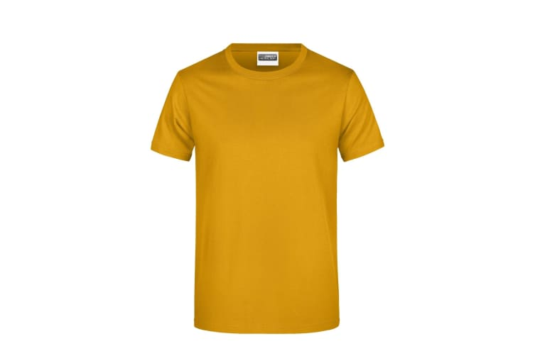 James And Nicholson Mens Round Neck Basic T-Shirt (Gold Yellow) (3XL)
