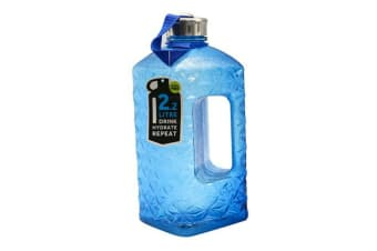 Blue 2.2L Diamond Cut Drink Bottle Plastic Sports Camping Water Bottle Water BPA FREE