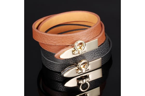 Genuine Cow Leather Wrap Bracelet With 18K Gold Buckle 1-Leather/Brown