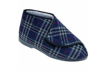 GBS William Great British Touch Fastening Bootee / Mens Slippers / Mens Bootee (Check) (11 UK)