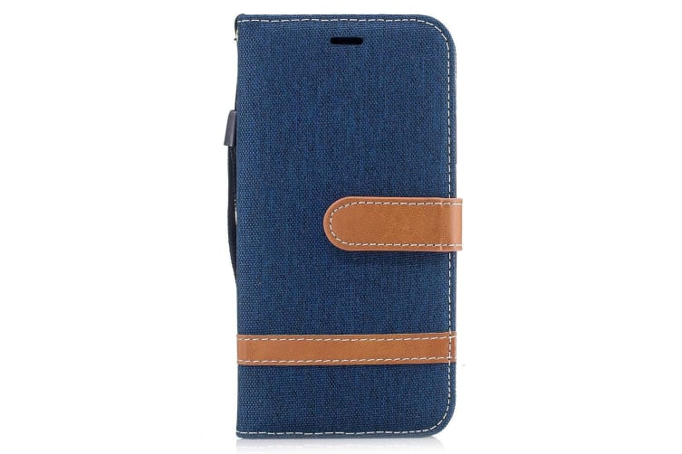 For iPhone XS X Wallet Case Denim Leather Durable Protective Cover Navy Blue