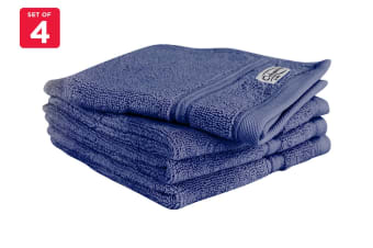 Onkaparinga Ethan 600GSM Face Washer Set of 4 (Denim)