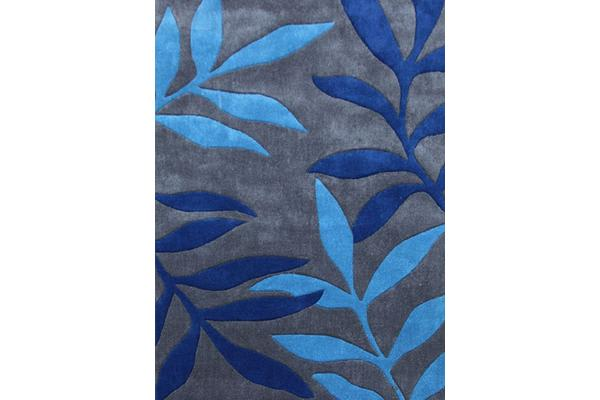 Stunning Leaf Design Rug Blue Grey 225x155cm