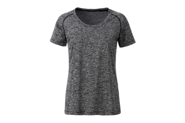 James and Nicholson Womens/Ladies Sports T-Shirt (Black Melange/Black) (S)