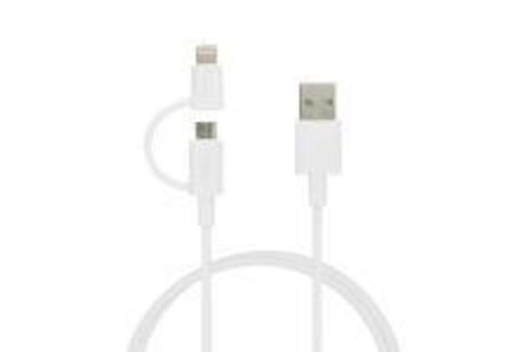 Team Group 2-in-1 Micro USB & Lightning Cable, White, Apple Mfi Certified, 1M