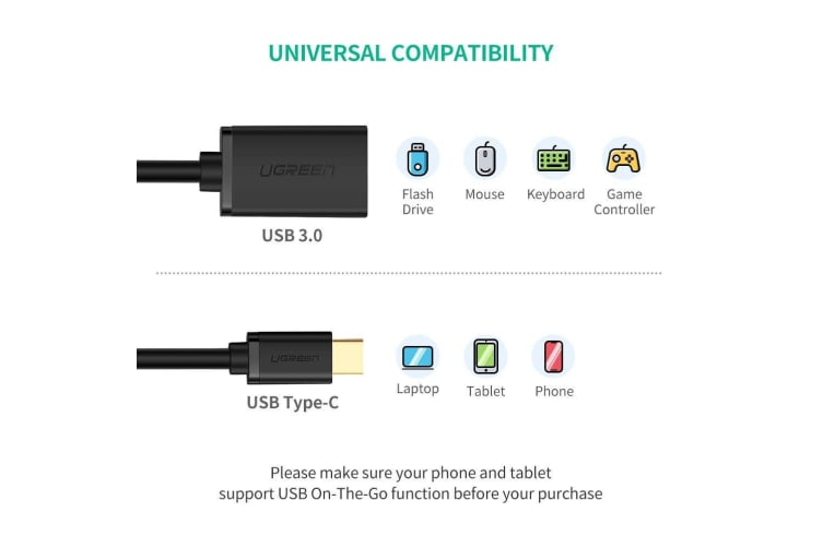 UGREEN USB Type-C Male to USB 3.0 Type A Female OTG Cable - Black 15CM (30701)