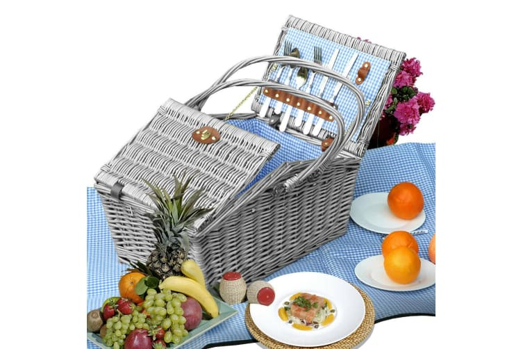 Wicker 4 Person Picnic Basket Folding Handle Outdoor Corporate Gift Blanket Park