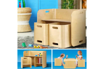 Artiss 3PC Kids Table and Chairs Set Toys Play Desk Children Shelf Storage Beige