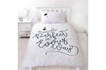 Mary Poppins Perfect Reversible Single Duvet Set (White) (One Size)