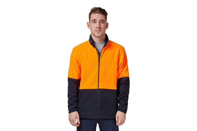 King Gee Full Zip Spliced Hi Vis Fleece (Orange/Navy, Size M)
