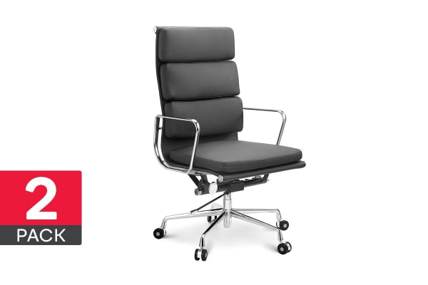 2 Pack Ergolux Executive Eames Replica High Back Padded Office Chair (Black)