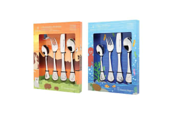 2x 4pc Stanley Rogers Sea Australian Animal Children Cutlery Set Stainless Steel