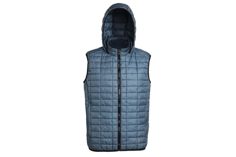 2786 Mens Honeycomb Zip Up Hooded Gilet/Bodywarmer (Steel) (XL)