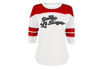 Suicide Squad Womens/Ladies Daddys Lil Monster Varsity Shirt (Red/White) (L)