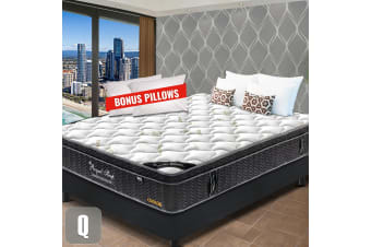 QUEEN Mattress Euro Top 9 Zone Pocket Spring Latex Memory Foam Chiropractic 33CM