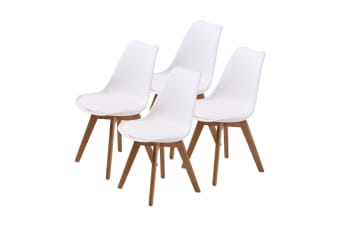4X Padded Seat Dining Chair - WHITE