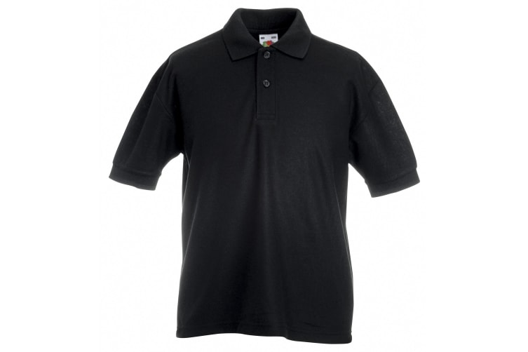 Fruit Of The Loom Childrens/Kids Unisex 65/35 Pique Polo Shirt (Black) (7-8)