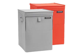 Brabantia 35l Grey Red Stackable Polyester Laundry Box Basket Washing Clothes