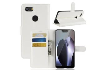 For Google Pixel 3 XL Leather Wallet Case White Lychee Cover Stand Card Slots