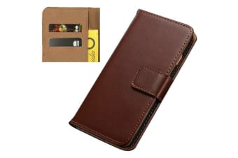 For iPhone 5C Wallet Case Stylish Slim High-Quality Leather Cover Brown