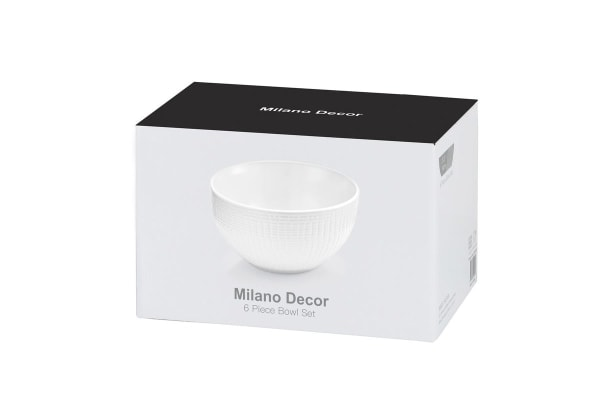 Milano Decor 6 Stoneware Pcs Bowl Set  - White