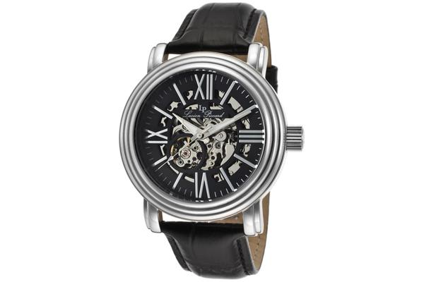 Lucien Piccard Domineer Automatic Silver-Tone Steel Case Black And Skeletonized Dial Black Genuine Leather Strap (LP-11912-01)