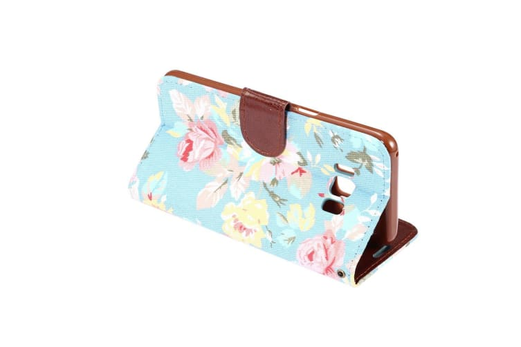 For Samsung Galaxy S8 Wallet Case Flowery Print Stylish Leather Cover Blue