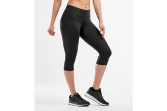 2XU Women's Mid-Rise Compression 3/4Tights (Black/Dotted Black Logo, Size M)
