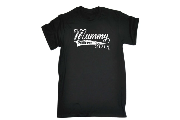123T Funny Tee - 215 Mummy Since - (Large Black Mens T Shirt)