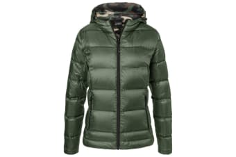 James and Nicholson Womens/Ladies Hooded Down Jacket (Olive Green/Green Camouflage) (XS)