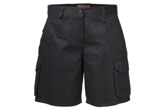 Hard Yakka Women's Foundations Drill Cargo Short (Black, Size 10)