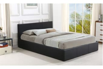 Gas Lift Storage Pu Leather Bed Frame Queen Size BLACK