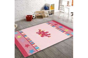 Pretty Girls Crown Rug Pink 165x115cm