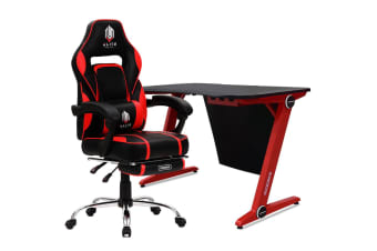 OVERDRIVE Gaming Chair Desk Racing Seat Setup PC Combo Office Table Black Red