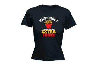 123T Funny Tee - Extra Fries - (X-Large Black Womens T Shirt)