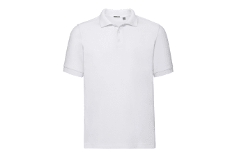Russell Mens Tailored Stretch Pique Polo Shirt (White) (M)