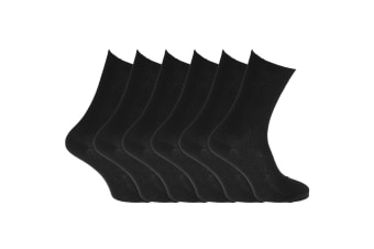Healthy Womens/Ladies Easy-slide 100% Cotton Socks (6 Pairs) (BLACK) (4-7 UK)