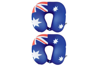 2PK Australian Flag Micro Bead Neck Cushion/Support Travel Pillow w/ Clip/Button