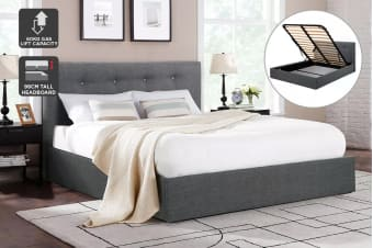 Shangri-La Bed Frame - Portofino Gas Lift Collection (Dark Grey, King)