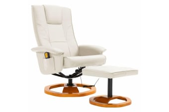 vidaXL Massage Chair with Foot Stool Cream Faux Leather