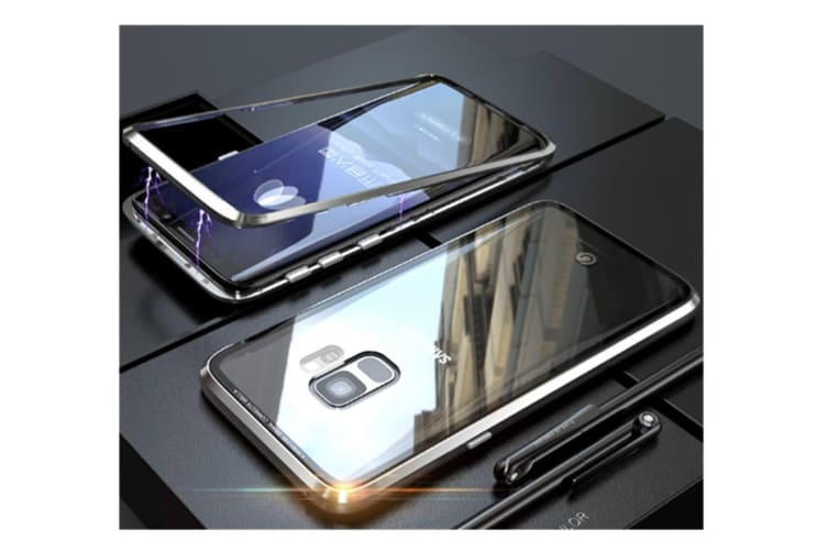 Magnetic Adsorption Phone Case Metal Back Glass Cover For Samsung Galaxy Silver Samsung Note8