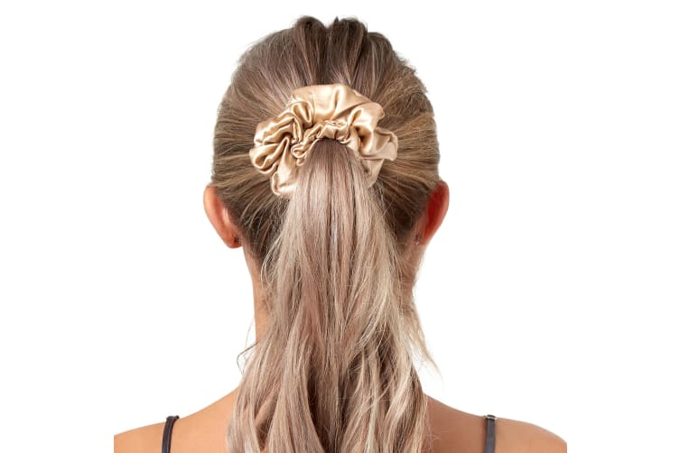 GioiaCasa 100% Mulberry Silk Fashion Hair Ties Luxury Accessory 3 Pack Thick Scrunchie - Champagne