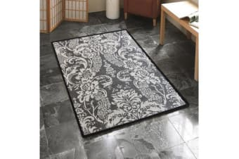 Indoor Outdoor Lace Rug Grey Cream 220x150cm