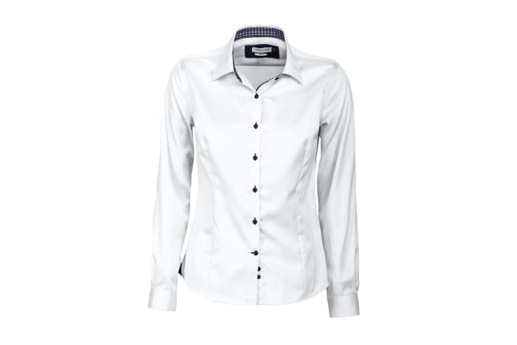 J Harvest & Frost Womens/Ladies Red Bow Collection 20 Long Sleeve Shirt (White/ Navy) (4XL)